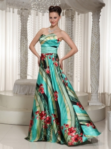Colorful Pringting Sweetheart A-line Prom Dress Floor-length