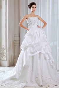 A-line Strapless Chapel TrainTaffeta Lace Beading Wedding Dress