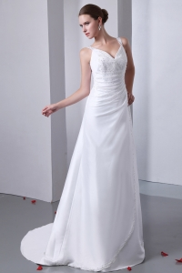 A-line Straps Court Train Satin Beading Wedding Dress