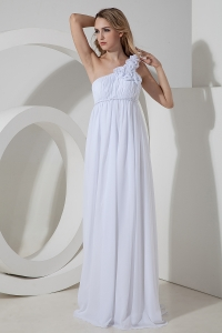 Empire One Shoulder Flowers Wedding Dress Chiffon