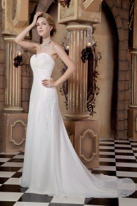 Empire Sweetheart Court Train Sequins Chiffon Wedding Dress