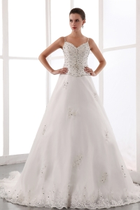 A-line Wedding Dress Spaghetti Straps Chapel Train Lace Beading