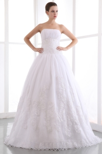 A-line Lace Wedding Dress Strapless Floor-length