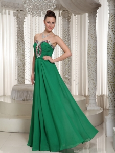 Green Sweetheart Chiffon Prom Dress With Ruching Beading