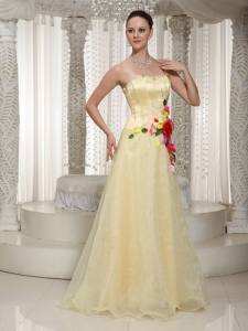 Flowers Beading Strapless Light Yellow Prom Dress