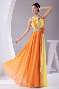 Flowers With Beading Prom Dress Ruching Orange and Yellow