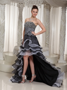 High-Low Strapless Flowers Beaded Black Prom Dress In 2013