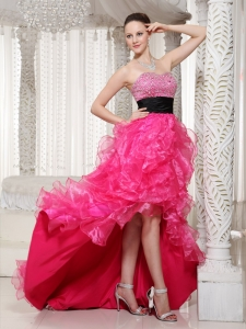 Hot Pink Beaded Belt Prom Dress 2013 High-low