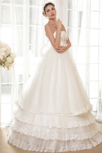 Strapless Floor-length Layers Flowers Beading Wedding Dress