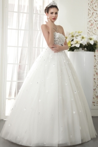 A-line Flowers Strapless Floor-length Wedding Dress Beading