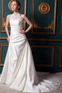 High-neck Wedding Dress Chapel Train Taffeta Lace