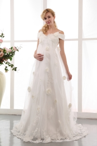 Off The Shoulder Court Train Tulle Flowers Maternity Wedding Gown