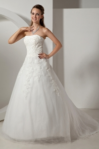 A-line Strapless Court Train Organza Wedding Dress Lace