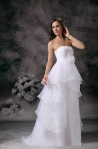 Strapless Floor-length Wedding Dress Organza Handle Flower