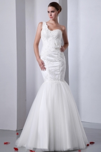 Mermaid Wedding Dress One Shoulder Tulle Lace Sweetheart
