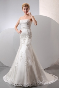 Wedding Dress Empire Mermaid Strapless Court Train Lace
