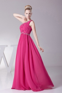 One Shoulder Ruching Hot Pink Prom Dress With Beading