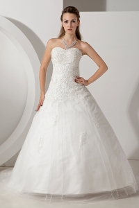 A-line Sweetheart Court Train Tulle Appliques Wedding Dress