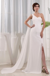 High Slit Column Wedding Dress One Shoulder Beading