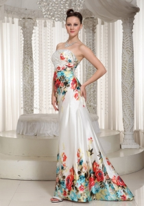 Colorful Prints Floor-length Strapless Prom Dress