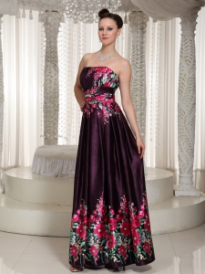 Prints Colorful Prom Dress StraplessFloor- length In 2013