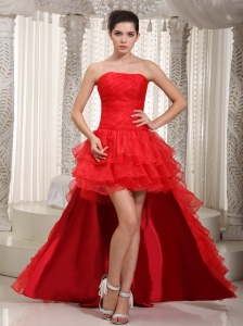 Detachable Train Red A-line Strapless Ruffles Prom Dress