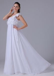 2013 Flowers Ruching Wedding Dress One Shoulder Chiffon