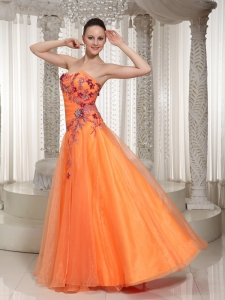 Appliques 2013 Orange Sweetheart Prom Dress