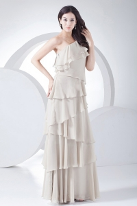 Ruffled Layers Grey Prom Dress Chiffon One Shoulder