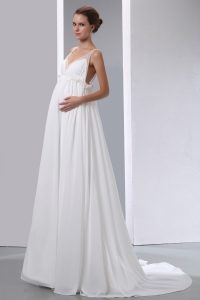 Simple A-line V-neck Beading Maternity Wedding Dress