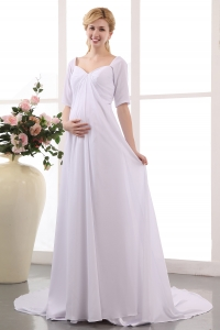 Simple Maternity Wedding Dress Empire V-neck Court Train Ruching