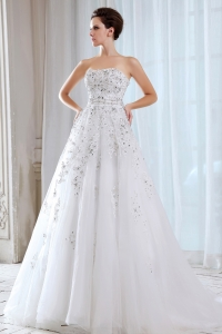 Strapless Wedding Dress A-line Court Train Tulle Beading