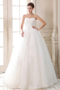A-line Wedding Dress Sweetheart Floor-length Beading