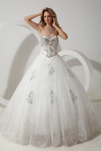 Sweetheart Wedding Dress Court Train Organza Beading