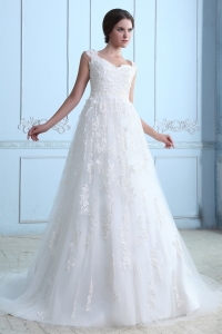 Lace Wedding Dress Vintage A-line V-neck Court Train Tulle