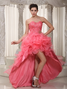 Watermelon Prom Dress Sweetheart High-low Organza Beading