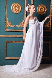 Lace Wedding Dress Unique Empire One Shoulder Brush Train