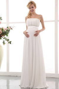 Maternity Wedding Dress White Empire Strapless Chiffon