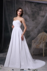 Empire Sweetheart Court Train Chiffon Ruching Wedding Dress