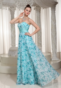 Aqua Blue Sash Printed Sweetheart Prom Dress