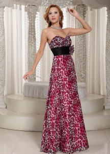 Leopard Black Sash Handle Flower Prom Dress