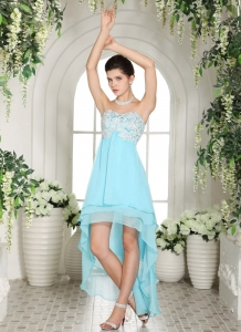 Aqua High Low Sweetheart Prom Dress Chiffon Layers