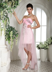High Low Baby Pink Beading Tulle Party Style Dress