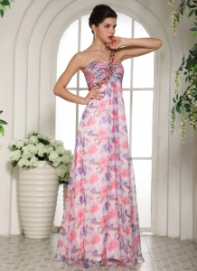 Beaded Decorate One Shoulder Printing Chiffon Prom Dress For Custom Made