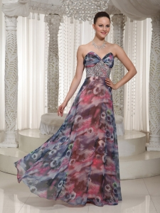 Beaded Sweetheart Floor-length Printing 2013 Prom Dress