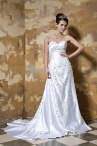 Sweetheart Beading Sweep Train Taffeta Wedding Dress