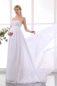 Maternity Wedding Dress Sweetheart Beading Court Train