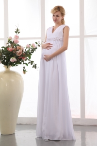 Maternity Wedding Dress V Neck Handmade Flowers White Chiffon