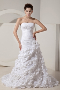 Mermaid Strapless Court Train Flower Wedding Dress