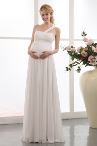 Wedding Dress for Maternity Bride One Shoulder Chiffon